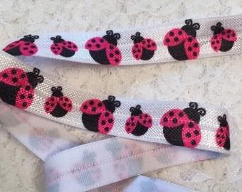 Lady Bug Baby Headband Elastic/Elastic by the Yard/Lady Bug Printed Elastic/Printed Hair Ties/FOE Ladybugs/Fold Over Elastic