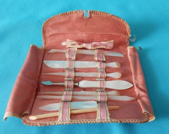 Antique Ladies Manicure set.  Mother of Pearl