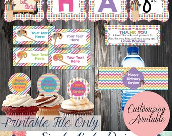 Let's Get Arty Party Decorations - Art Party PRINTABLE Decorations