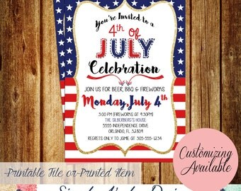 4th of July Party Invitation - Independence Day Party Invitation