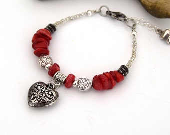 Bracelet coquillage corail bambou rouge, bijoux en coquillages