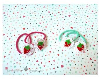 Cute felt strawberry and yo-yo hair elastics
