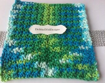 Dish Cloth,Wash Cloth, Crochet,Varigated Lime Green,Turquoise/Women's Gift/Teacher Gift/Wedding Gift/New Neighbor Gift/Useful