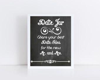 Chalkboard Wedding Date Jar Sign Printable, Wedding Printable, Wedding Date Sign, Wedding Art