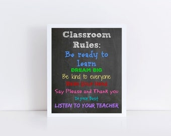 Classroom Rules Printable, Back to School, Classroom Art, Classroom Printable, Teacher Printable, Classroom Art, Teacher Download 8x10