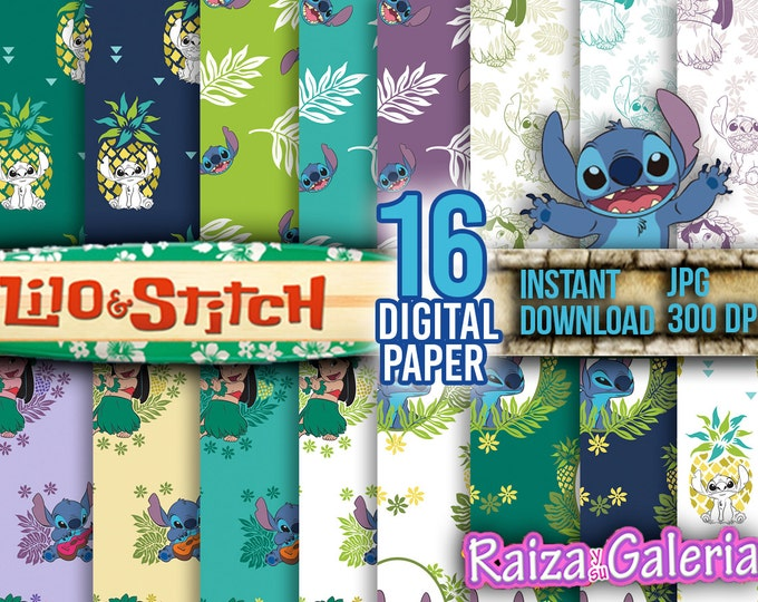 AWESOME Disney Lilo and Stitch Digital Paper. Instant Download - Scrapbooking - Lilo and Stitch Printable Paper Craft! FREE 1 Poster.
