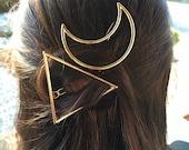Boho Crescent Moon or Triangle Hair Clip, Hair accessorie, Gypsy Hair, Festival Hair Clip, Bohemian hair, Tribal, 2015 Trend, Holiday Gift