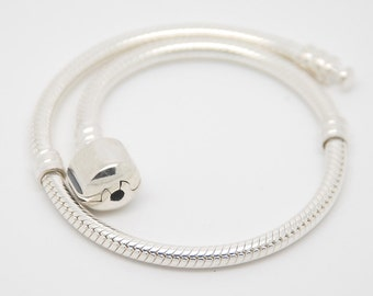 9.0 Inch New 925 Silver Chain Bracelet fit European Beads / Charms