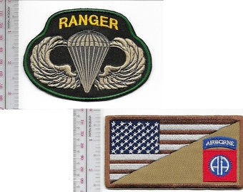Ranger US Army 82nd Airborne Infantry Division ABN & Ranger Parachutist Wings