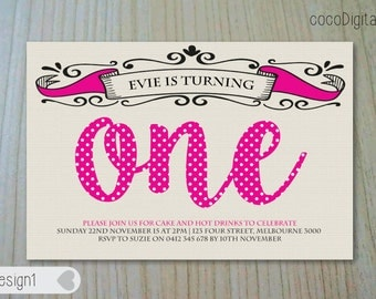 "PRINTED 4x6"" Turning One Birthday Invitation Photo Custom Personalised Printable Girl Boy Any Age 1st 2nd 3rd 4th 5th Party Supplies"