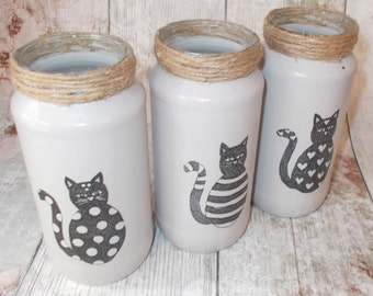 Glass Jars, Set of 3 Decorative Glass Jars In Grey Gray with Cats decoupage, Shabby Vintage Rustic Chic