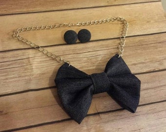 Denim bowtie - bow tie with chain - bow tie necklace - women wearing ties - accessories handmade - funky accessories - fabric jewelry