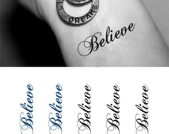 Believe In Yourself - Cool Temporary Tattoos Motivational Quote Believe