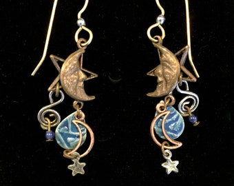 Vintage 1980's Dangly Earrings • Moon and Stars Design • Hippie Boho Style