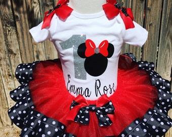 Birthday tutu, Minnie Mouse tutu, ribbon trim tutu, disney inspired tutu, personalized shirt, red tutu