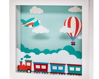 Marmelada Lights Train To The Clouds LED 3D Wall Hanging and Table Top Inner Timer Story In a Frame Night Light Toddler Baby Nursery Room