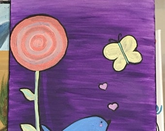 Whimsical bird and butterfly original acrylic painting