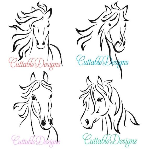 horse stallion designs monogram cuttable pack svg dxf eps