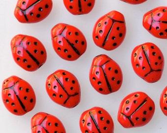 Small Ladybug Bead - Czech Glass Beads - Glass Ladybug Beads - 10mm x 7mm - Red Black - Qty 25