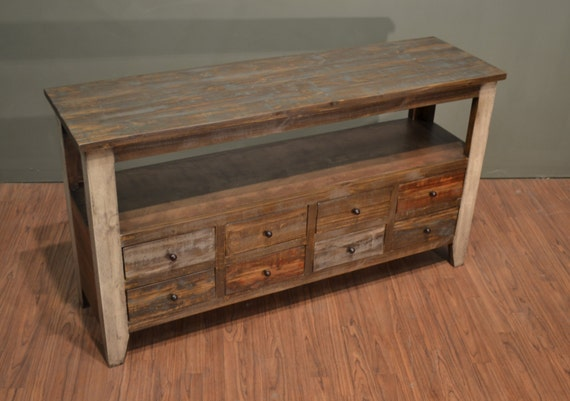 Rustic Solid Wood 55 Inches Wide TV Stand Media Console / Sofa