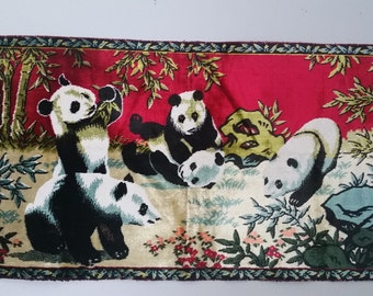 SALE Vintage Panda Tapestry, Velveteen Wall Hanging, Swan
