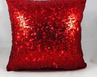 Red Sequin Pillow Cover- Zippered
