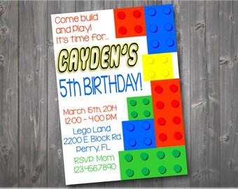 Lego Birthday Invitation, Lego Birthday Party Invitation, Party Invitation, Invitation