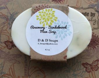 Rosemary Sandalwood All Natural Goats milk Glycerin Moisturizing Bar Soap