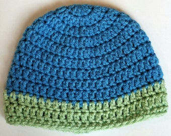 Crochet Baby hat , Blue and Lime Green ,
