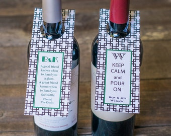 Wine Tags, Personalized Black Tile Wine Tags- Set of 10