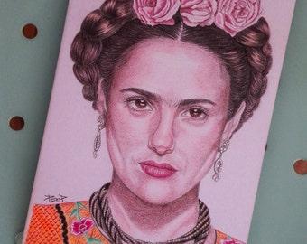 Original Hand painted Moleskine, Fan Art Illustration Frida Kahlo, Salma Hayek, Illustrated original Notebook, Plain pages, Pocket Journal