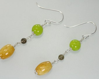 Sale-item Green and Yellow Jade, Smoky Quartz Wire Wrapped Dangle Sterling Silver Earrings, Green Yellow Dangle Earrings