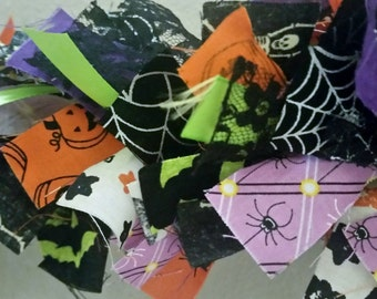 Halloween Rag Garland, Halloween Decoration, Halloween Fabric Garland 5 ft, Halloween Decor