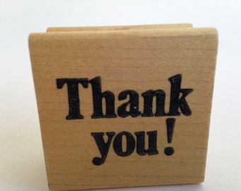 Bold THANK YOU - Strong Typography - Clean - Vintage Rubber Stamp - Card Making - Crafts
