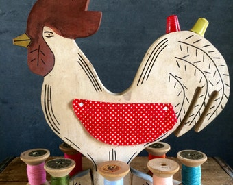 Vintage 1940's Sewing Rooster With Wooden Spools Of Thread