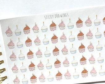Cupcake Birthday Stickers