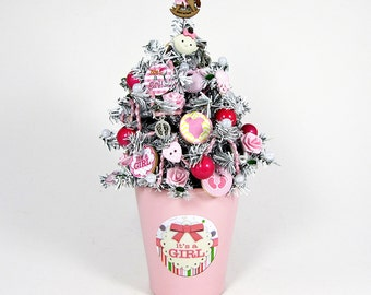 Baby Girl Decor - Baby Shower Centerpiece - Nursery Decoration - Miniature Tree - Tabletop Decoration - Baby Girl - Pink Decor - New Baby