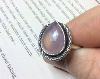 Rose Quartz Horseshoe Teardrop Sterling Silver Ring