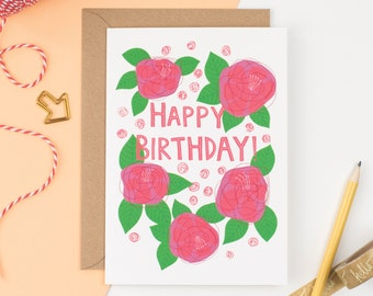 Happy Birthday Roses Greetings Card