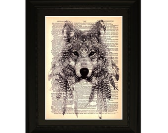 """Dancing with wolves"""".Dictionary Art Print. Vintage Upcycled Antique Book Page. Fits 8""""x10"""" frame"""
