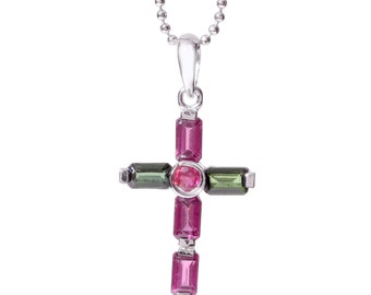Rhodium-plated Sterling Silver Tourmaline Cross Necklace