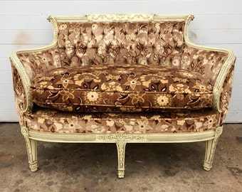 Vintage French style Loveseat with Floral Upholstery