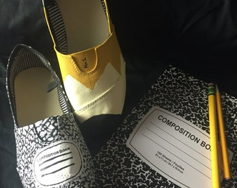 Number 2 and Composition Notebook Shoes
