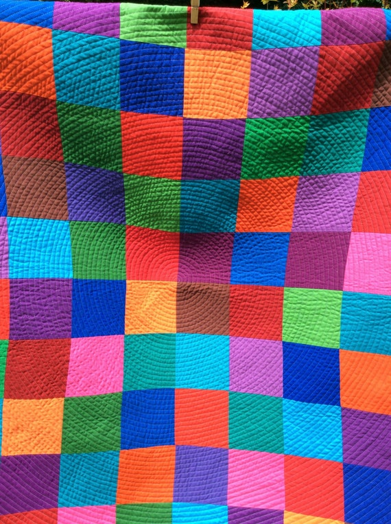 Handmade Classic Palette Spiral Baby Quilt