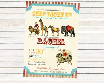 Circus Carnival Party Invitation / Custom Download / Birthday Party Circus Animals Invitation