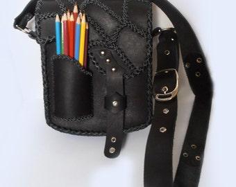 Bag, Handbag, Shoulder bag, Spider Web, handmade, leather, black