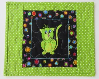 Quilted Cat Mug Rug, Handmade Children Placemat or Snack Mat, Lime Green Quilted Cat Mugrug, Kids Small Placemat, Quilted Wall Hanging