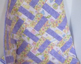 25% OFF Hearts and Bows Flannel Baby Girl Quilt, Purple Pink Green Yellow, Nursery Bedding, Crib Quilt, Baby Shower Gift, Baby Blanket