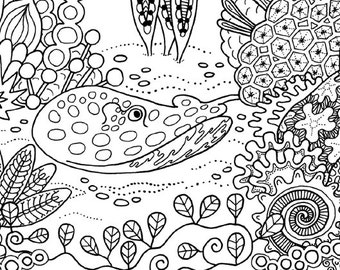 Coral Garden colouring page for adults