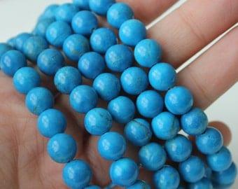8mm Blue Howlite, Beads Round, Full Strand, Genuine Gemstone, Blue Beads, Blue Howlite Beads, Howlite Gemstone, Howlite Beads,